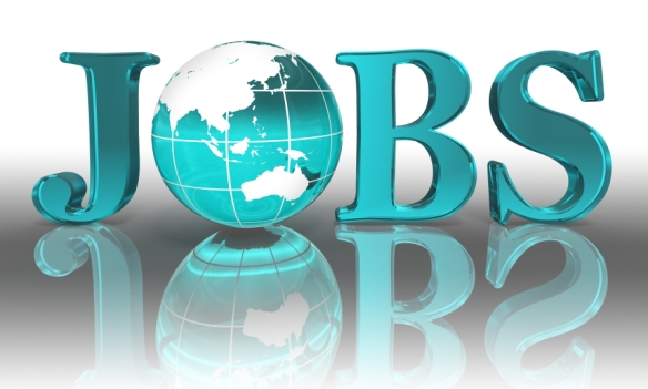 jobs word and blue earth globe